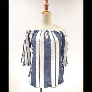Young Fabulous & Broke Striped Off Shoulder Top